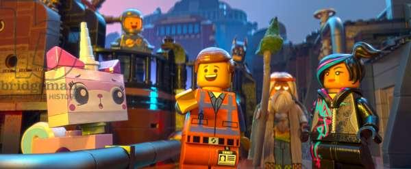 THE LEGO MOVIE, from left: Unikitty (voice: Alison Brie), Benny (voice: Charlie Day), Emmet (voice: Chris Pratt), Batman (voice: Will Arnett), Vitruvius (voice: Morgan Freeman), Wyldstyle (voice: Elizabeth Banks), 2014, ©Warner Bros. Pictures/courtesy Everett Collection