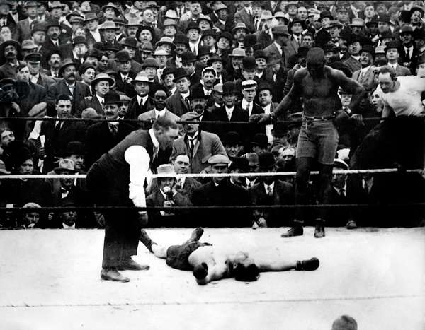 UNFORGIVABLE BLACKNESS: THE RISE AND FALL OF JACK JOHNSON, Stanley Ketchal knocked out by Jack Johnson in 1909 fight, 2004, (c) Florentine Films/courtesy Everett Collection
