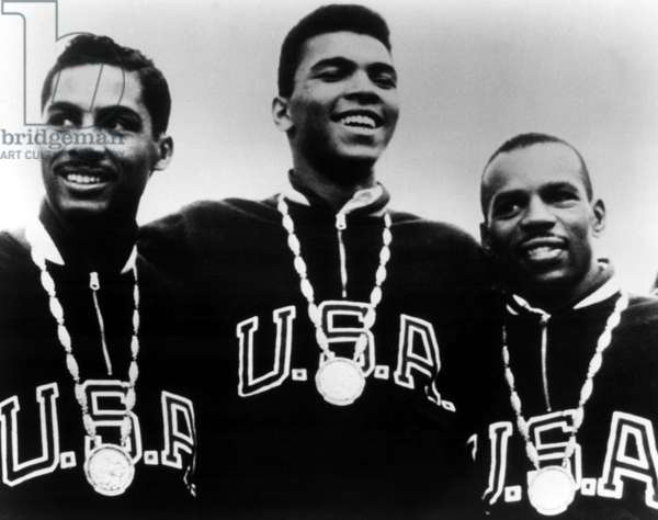 Cassius Clay (Muhammad Ali) with other members of the U.S. boxing team with their Gold Medals at the 1960 Olympic Games