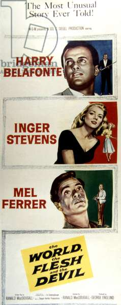THE WORLD, THE FLESH AND THE DEVIL, Harry Belafonte, Inger Stevens, Mel Ferrer, 1959