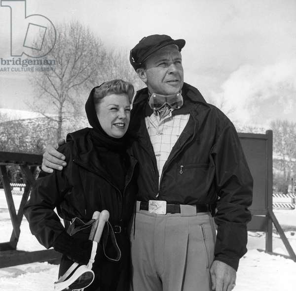 JUNE ALLYSON and DICK POWELL enjoy a winter holiday, 1950s