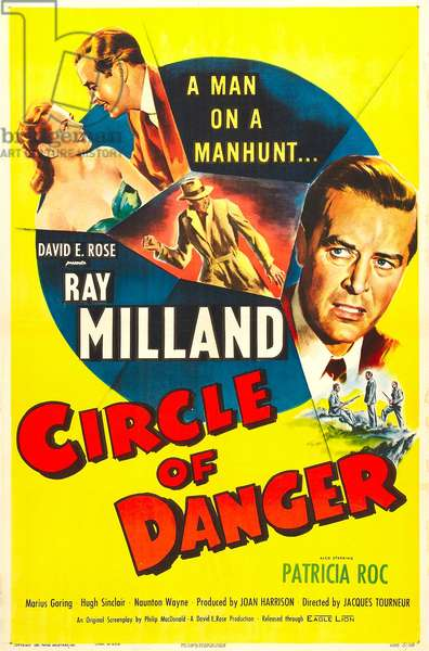 CIRCLE OF DANGER, British  poster, faces from left: Ray Milland, Patricia Roc, 1951 (colour litho)