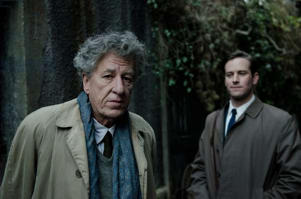 FINAL PORTRAIT, from left: Geoffrey Rush as Alberto Giacometti, Armie Hammer, 2017. ph: Parisa Taghizadeh/ © Sony Pictures Classics /Courtesy Everett Collection