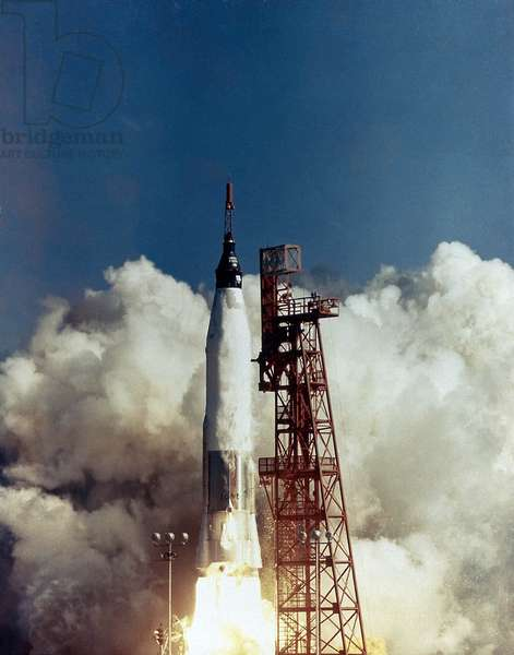 Friendship 7: Launch of Friendship 7, the first American manned orbital space flight. Astronaut John Glenn was aboard the modified Atlas Intercontinental Ballistic Missile. May 5, 1961. February 20, 1962.