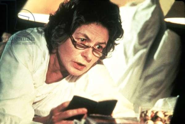 AUTUMN SONATA, Ingrid Bergman, 1978, looking at notes in bed