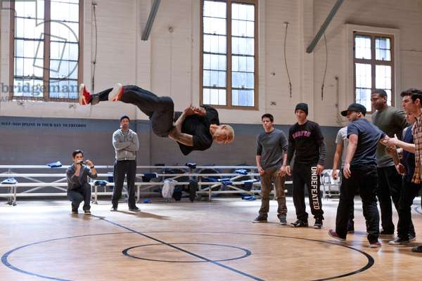 Battle of the Year: BATTLE OF THE YEAR, from left: Josh Peck, Josh Holloway, Chris Brown (in mid-air), David Shreibman, Richard Soto, Sawandi Wilson, Ivan Velez, Joshua Ayers, Jonathan Cruz, Luis Rosado, 2013. ph: Matt Kennedy/©Screen Gems/courtesy Everett Collection