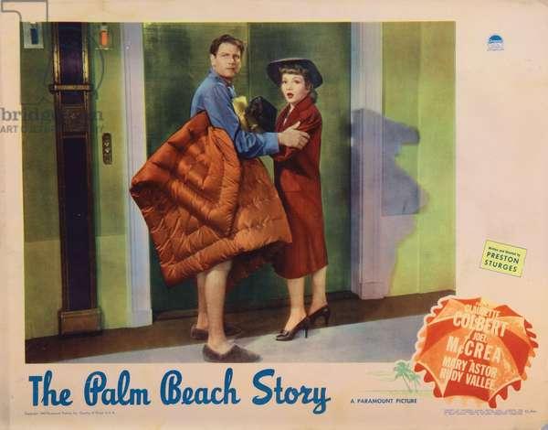 THE PALM BEACH STORY, Joel McCrea, Claudette Colbert, 1942.