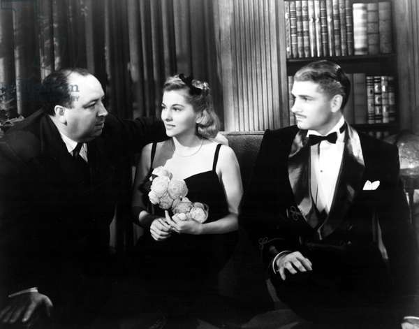 """Alfred Hitchcock, Joan Fontaine, and Laurence Olivier on the set of REBECCA, 1940"""""""