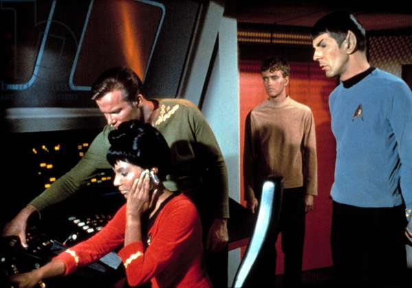 STAR TREK, Nichelle Nichols, William Shatner, Robert Walker, Jr, Leonard Nimoy, in Season 1, Ep#8, 'Charlie X' 9/15/1966. (c)Paramount. Courtesy: Everett Collection.