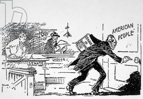 President Woodrow Wilson shown taking his case for ratifying the Treaty of Versailles to the public after it's rejection by Congress, political cartoon 1919