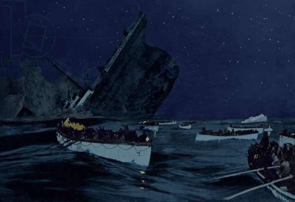 Sinking of the Titanic witnessed by survivors in lifeboats between 2 00 and 2 20 AM on April 15 1912. Early 20th century print with modern color., Photo by: 7 Continents History/Everett Collection (DI-MAR-Titanic-Boats_BSIC-2010-10)
