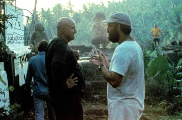 HEARTS OF DARKNESS: A FILMMAKER'S APOCALYPSE, Marlon Brando, director Francis Ford Coppola, during filming of APOCALYPSE NOW, 1979, documentary released 1991