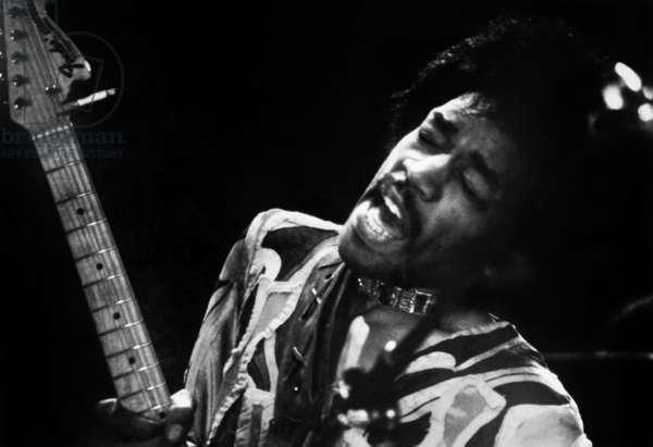 Jimi Hendrix at the Isle of Wight Festival, 1970 (b/w photo)