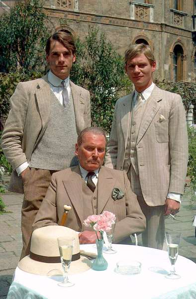 Jeremy Irons, Laurence Olivier and Anthony Andrews in the tv adaptation of Evelyn Waugh's Brideshead Revisited, 1981