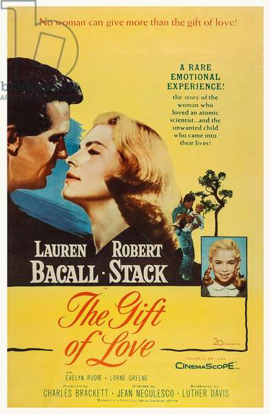 THE GIFT OF LOVE, US poster art, from left: Robert Stack, Lauren Bacall, Evelyn Rudie, 1958. TM & Copyright © 20th Century Fox Film Corp. All rights reserved/courtesy Everett Collection