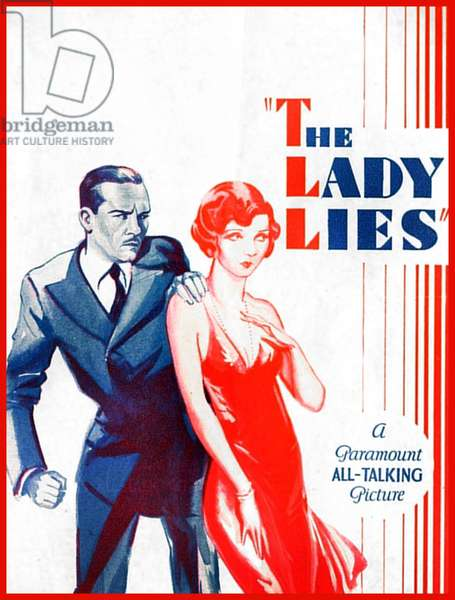 THE LADY LIES: THE LADY LIES, US poster art, from left: Walter Huston, Claudette Colbert, 1929