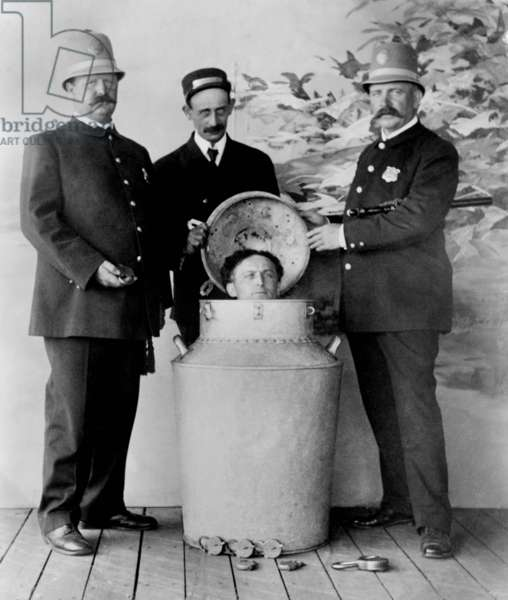 Harry Houdini: Harry Houdini performs the great milk can escape from a giant milk can filled with water in St. Louis in 1908.