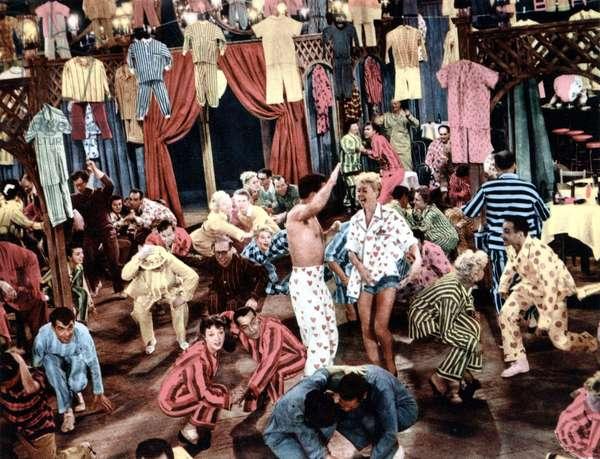 The Pajama Game: THE PAJAMA GAME, John Raitt (wearing heart pajama bottoms, center), Doris Day (wearing heart pajama top, center), 1957