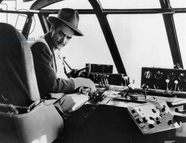 Howard Hughes, in cockpit of his 'Spruce Goose' H-4 Flying Boat, 1947