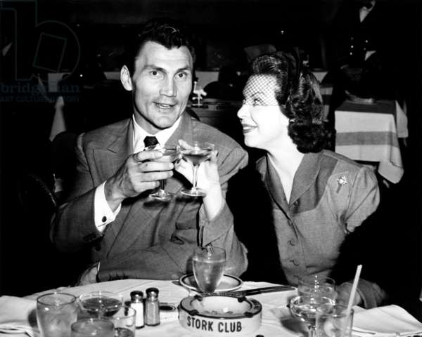 Jack Palance with wife, Virginia Baker, ca. 1950s