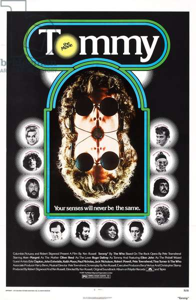 TOMMY, US poster, Ann-Margret, Roger Daltrey, Eric Clapton, Keith Moon, Jack Nicholson, Pete Townsend, Tina Turner, Robert Powell, Paul Nicholas, John Entwistle, Elton John, Oliver Reed, 1975