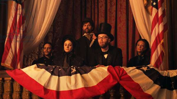 DRUNK HISTORY, rear: Adam Scott (as John Wilkes Booth), second from right: Stephen Merchant (as Abraham Lincoln), 'Washington DC' (Season 1, Episode 1, aired July 9, 2013), 2013-, ©Comedy Central/courtesy Everett Collection