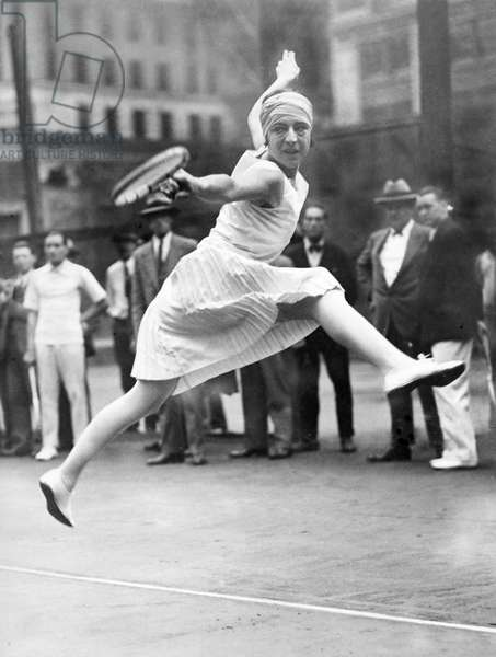 SUZANNE L'ENGLEN, (Suzanne Lenglen), during a practice in New York City for the Madison Square Garden Tour, c. 1926