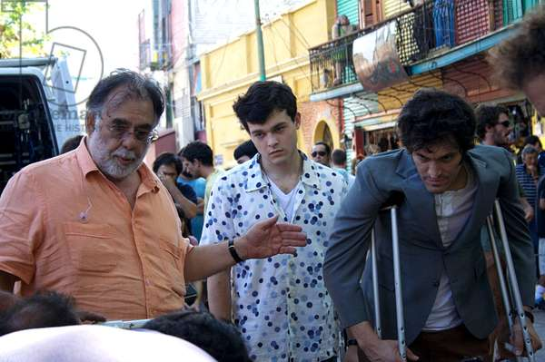 TETRO, from left: director Francis Ford Coppola, Alden Ehrenreich, Vincent Gallo, on set, 2009. ©American Zoetrope/Courtesy Everett Collection