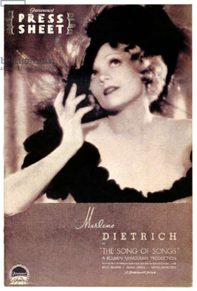 THE SONG OF SONGS, Marlene Dietrich on Australian pressbook, 1933.