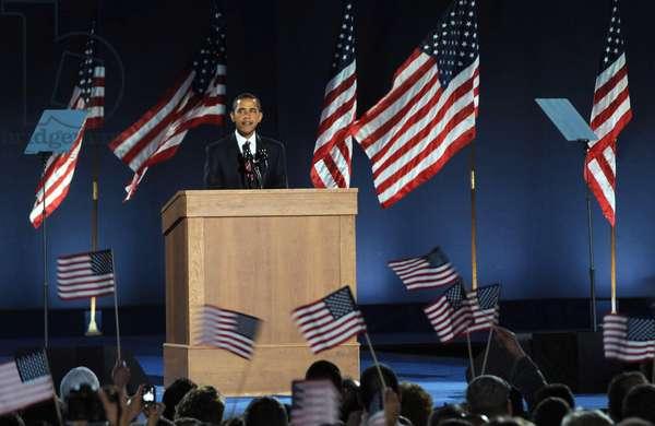 U.S. President Elect Senator Barack Obama at a public appearance for Barack Obama U.S. Presidential Election Victory Speech and Celebration, Grant Park, Chicago, IL, November 04, 2008. Photo by: Kristin Callahan/Everett Collection