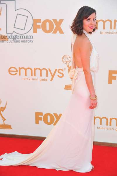 Aubrey Plaza (wearing a Juan Carlos Obando gown) a at arrivals for The 63rd Primetime Emmy Awards - ARRIVALS 1, Nokia Theatre at L.A. LIVE, Los Angeles, CA September 18, 2011. Photo By: Gregorio Binuya/Everett Collection