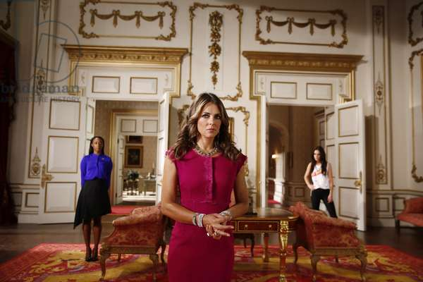 THE ROYALS, (from left): Victoria Ekanoye, Elizabeth Hurley, Alexandra Park, 'Your Sovereignty of Reason', (Season 1, ep. 107, aired April 26, 2015). photo: Tim Whitby / © E! Network / Courtesy: Everett Collection