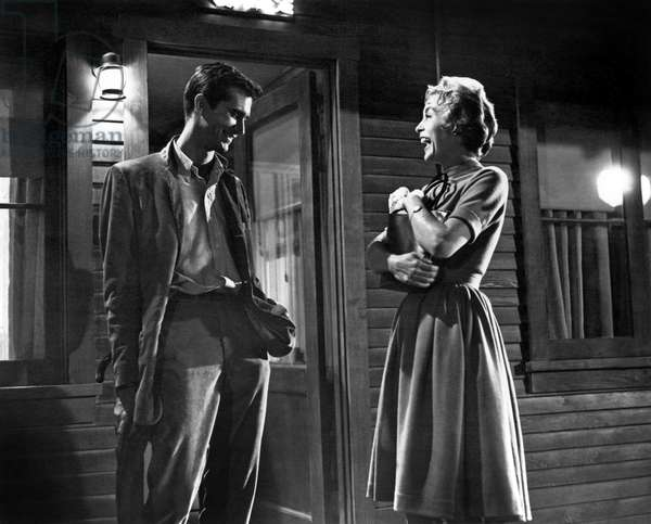 Psycho: Anthony Perkins, Janet Leigh having a good time on the set of PSYCHO, 1960