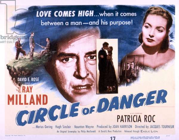 CIRCLE OF DANGER, faces from left: Ray Milland, Patricia Roc, 1951 (b/w photo)
