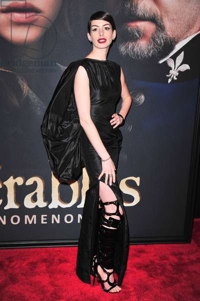 Anne Hathaway (wearing a Tom Ford dress and boots) at arrivals for LES MISERABLES Premiere, The Ziegfeld Theatre, New York, NY December 10, 2012. Photo By: Gregorio T. Binuya/Everett Collection