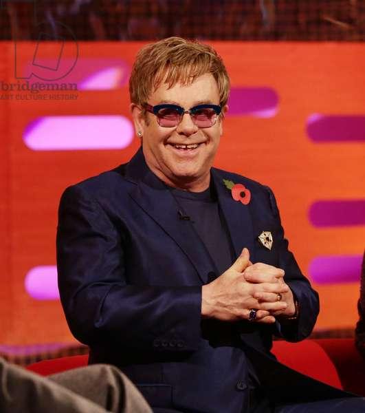 THE GRAHAM NORTON SHOW, Elton John (Season 14, Episode 4, aired November 1, 2013). ph: Yui Mok/© BBC/BBC America / Courtesy: Everett Collection