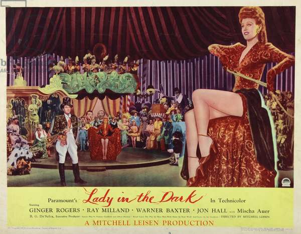 LADY IN THE DARK, Ginger Rogers (right and center), Ray Milland (left), 1944.