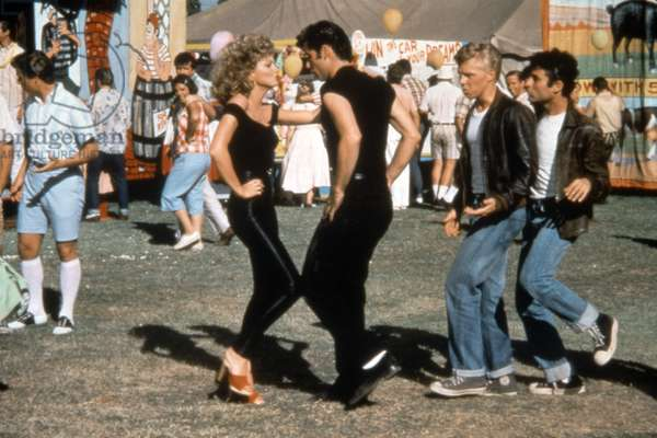 GREASE, Olivia Newton-John, John Travolta, Barry Pearl, Michael Tucci, 1978. © Paramount Pictures/ Courtesy: Everett Collection.