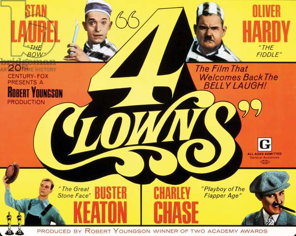 4 CLOWNS: 4 CLOWNS, top l-r: Stan Laurel, Oliver Hardy, bottom l-r: Buster Keaton, Charley Chase on poster art, 1970, TM and Copyright ©20th Century Fox Film Corp. All rights reserved./courtesy Everett Collection