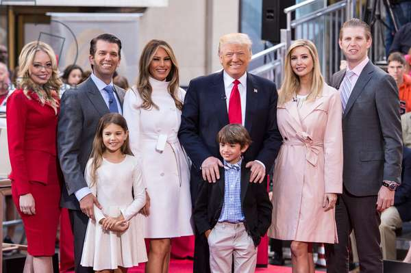 Tiffany Trump, Donald Trump Jr., Kai Maidson Trump, Melania Trump, Donald Trump, Donald Trump III, Ivanka Trump, Eric Trump in attendance for Donald Trump Town Hall on the NBC Today Show, Rockefeller Plaza, New York, NY April 21, 2016. Photo By: Steven Ferdman/Everett Collection