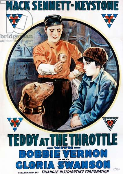 TEDDY AT THE THROTTLE: TEDDY AT THE THROTTLE, from left: Teddy the Kaystone Dog, Bobby Vernon, Gloria Swanson, 1917
