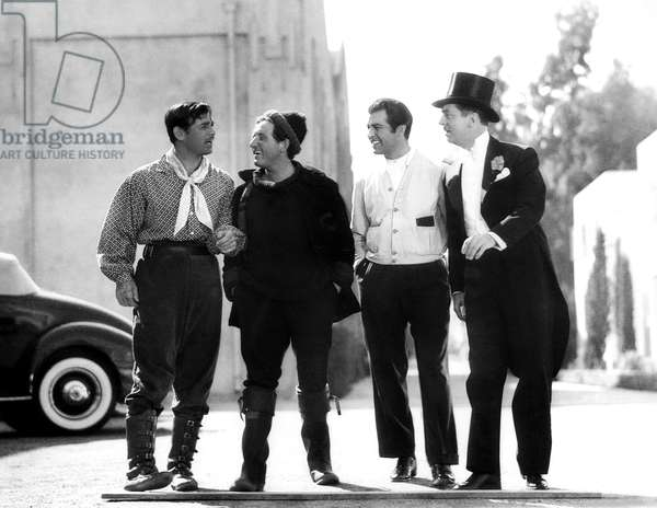 Clark Gable, Spencer Tracy, Robert Taylor, William Powell in costume for their current productions on the MGM lot, 1936