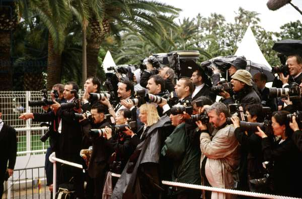 Paparazzi photographers at Cannes Film Festival, 2000, by Thierry Carpico