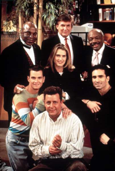 SUDDENLY SUSAN, (top row): Mr. T, Donald Trump, Willie Brown, (bottom): David Strickland, Judd Nelson, Brooke Shields, Nestor Carbonell, 1996-2000, episode 'I'll See That And Raise You Susan' aired 5/8/97, (c)Warner Bros. Television/courtesy Everett Collection