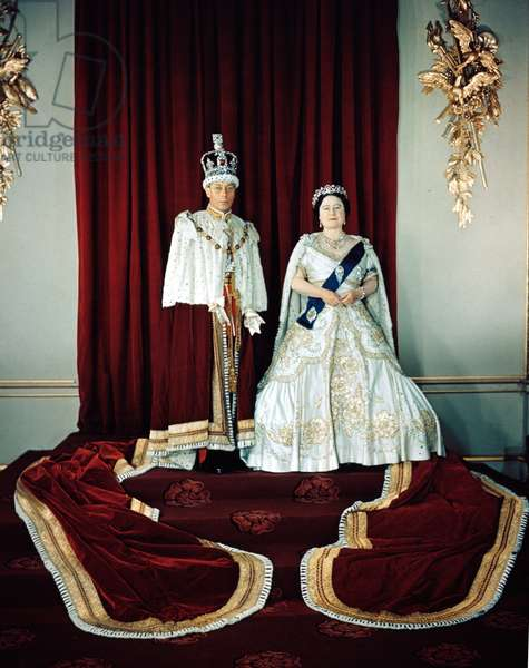 King George VI and wife Queen Elizabeth, 1937.