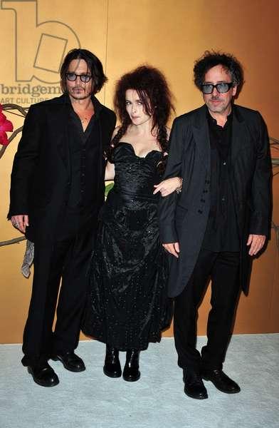 Johnny Depp, Helena Bonham Carter, Tim Burton at arrivals for The Museum of Modern Art Film Benefit: A Tribute to TIM BURTON, MoMA Museum of Modern Art, New York, NY November 17, 2009. Photo By: Gregorio T. Binuya/Everett Collection