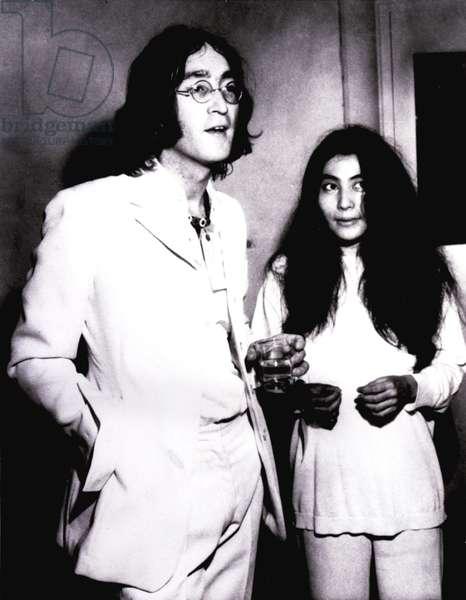 John Lennon and Yoko Ono at Mayfair Gallery, NY, for an exhibit of Yoko's, 1968