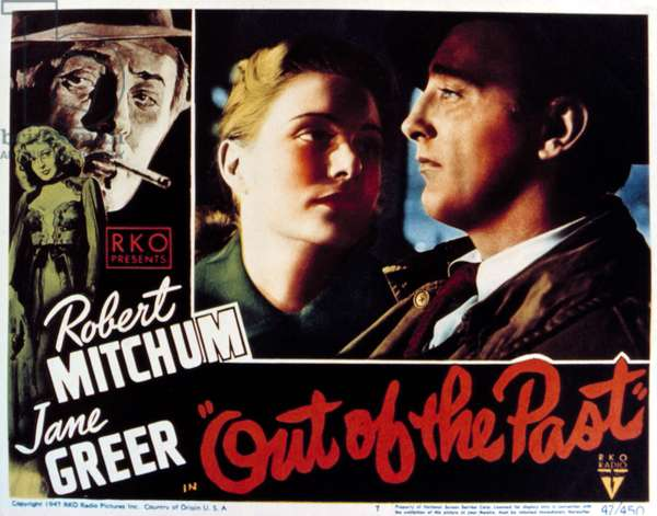OUT OF THE PAST, Virginia Huston, Robert Mitchum, 1947.