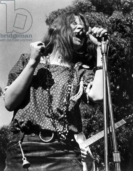 "JANIS JOPLIN, 1960s, from the documentary, ""Janis,"" released in 1975 (b/w photo)"