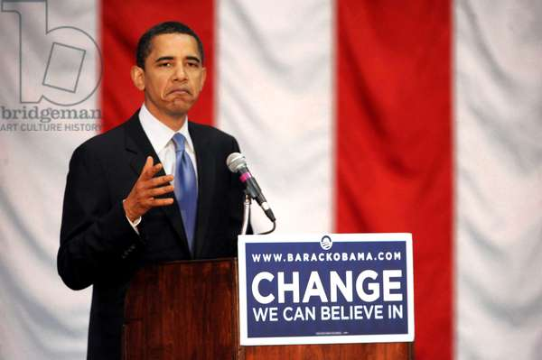 Barack Obama: Democratic presidential candidate Sen. Barack Obama (D-IL) on stage for Barack Obama Road to Change Campaign Bus Tour, Wilkes University, Wilkes-Barre, PA, April 01, 2008. Photo by: Brad Barket/Everett Collection